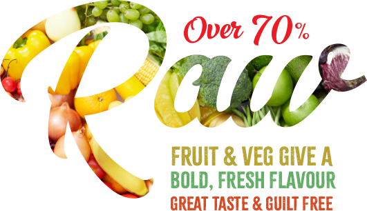 Over 70% Raw Fruit and veg give a bold, fresh flavour great taste and guilt free
